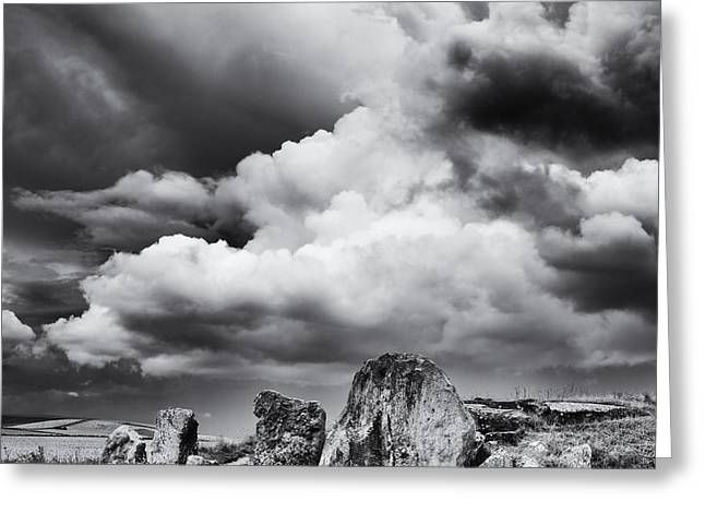 Barrow Greeting Cards - West Kennet Long Barrow Monochrome Greeting Card by Tim Gainey