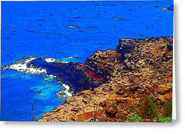Lahaina Digital Greeting Cards - West Maui Cliffs Close Up - Cartoon Greeting Card by Robert Pierce