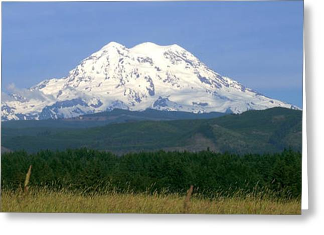 Blue And Green Greeting Cards - West Mt Rainier Greeting Card by Brian Harig