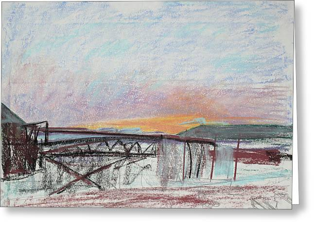 West Oakland Skyline at Sunset Greeting Card by Asha Carolyn Young
