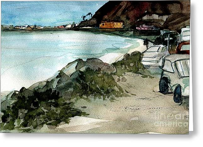 Rincon Beach Paintings Greeting Cards - West of Emma Wood Greeting Card by Sandra Stone