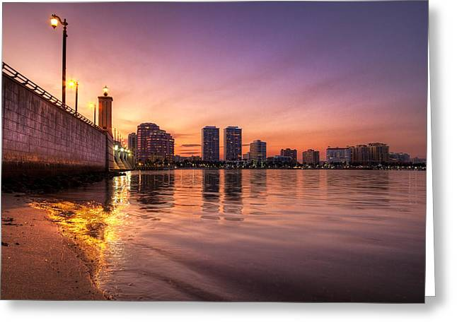Citiscape Greeting Cards - West Palm Beach Skyline at Dusk Greeting Card by Debra and Dave Vanderlaan