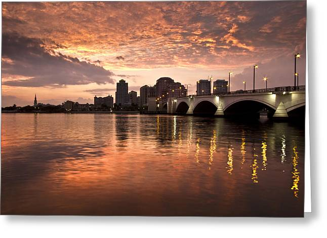 Florida Bridge Greeting Cards - West Palm Beach Skyline at Sunset Greeting Card by Debra and Dave Vanderlaan