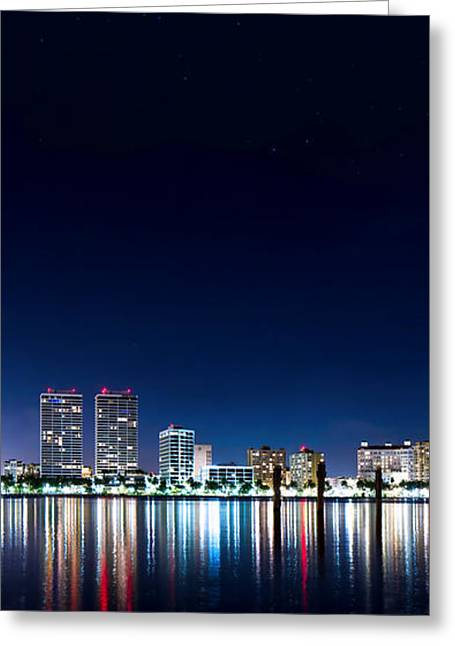 Beach At Night Greeting Cards - West Palm Beach Skyline Greeting Card by Mark Andrew Thomas