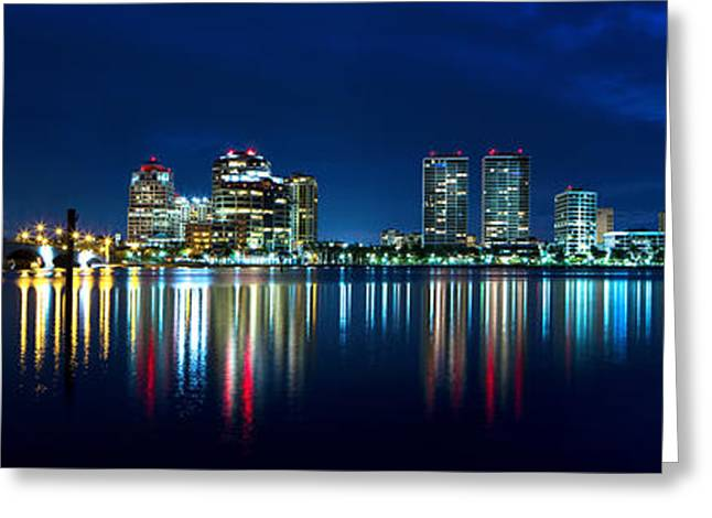 Beach At Night Greeting Cards - West Palm Twilight  Greeting Card by Mark Andrew Thomas