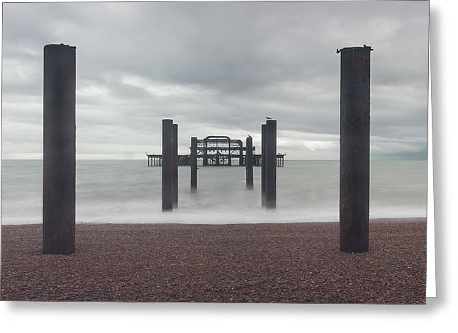 Grey Clouds Greeting Cards - West Pier Skeleton in Brighton Greeting Card by Semmick Photo