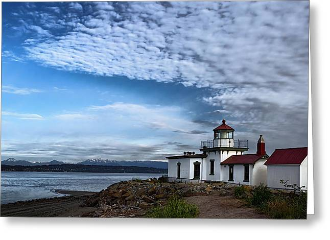 Wooden Building Greeting Cards - West Point Lighthouse II Greeting Card by Joan Carroll