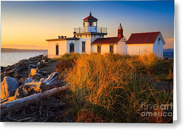United States Greeting Cards - West Point Lighthouse Greeting Card by Inge Johnsson