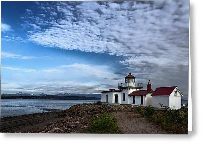 Wooden Building Greeting Cards - West Point Lighthouse Greeting Card by Joan Carroll