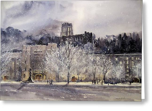 Line Paintings Greeting Cards - West Point Winter Greeting Card by Sandra Strohschein