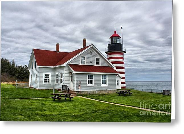 Cape Neddick Lighthouse Greeting Cards - West Quoddy 4216 Greeting Card by Joseph Marquis