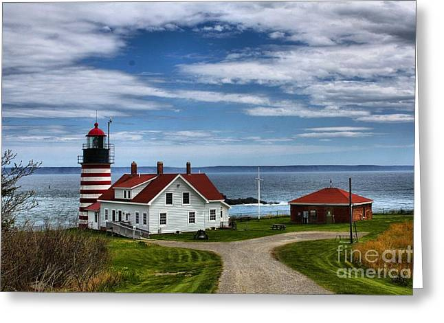 Cape Neddick Lighthouse Greeting Cards - West Quoddy 4227 Greeting Card by Joseph Marquis