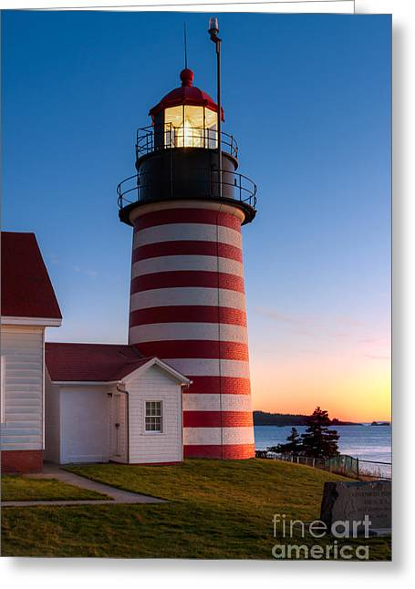 West Quoddy Head Light At Dawn I Greeting Card by Clarence Holmes