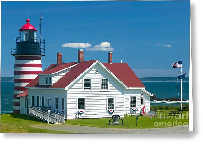 West Quoddy Light Greeting Cards - West Quoddy Head Light Greeting Card by Clarence Holmes