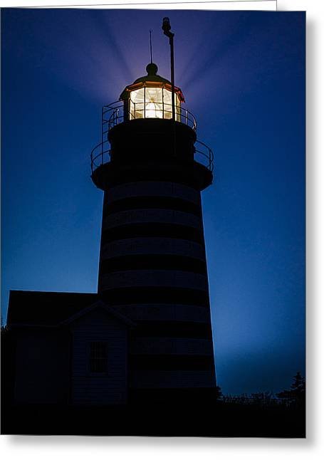 Maine Lighthouses Greeting Cards - West Quoddy Head Lighthouse Backlit in Fog Greeting Card by Marty Saccone