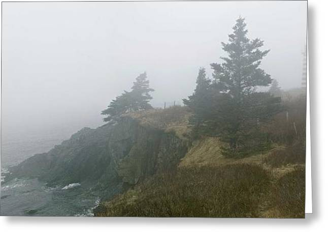 Most Popular Photographs Greeting Cards - West Quoddy Head Lighthouse in Fog  Greeting Card by Marty Saccone