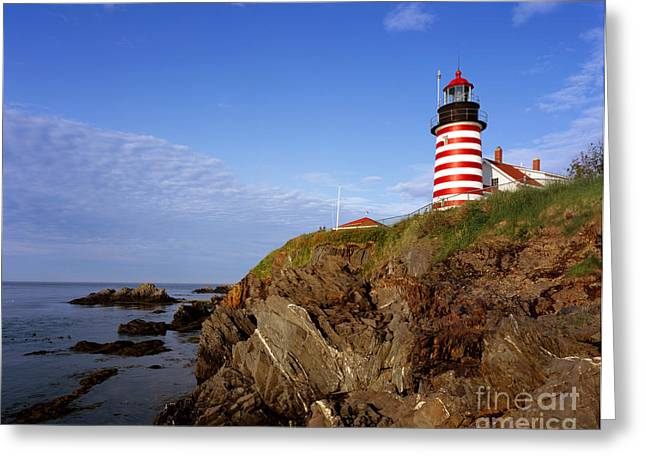 West Quoddy Light Greeting Cards - West Quoddy Head Lighthouse, Lubec, Me Greeting Card by Rafael Macia