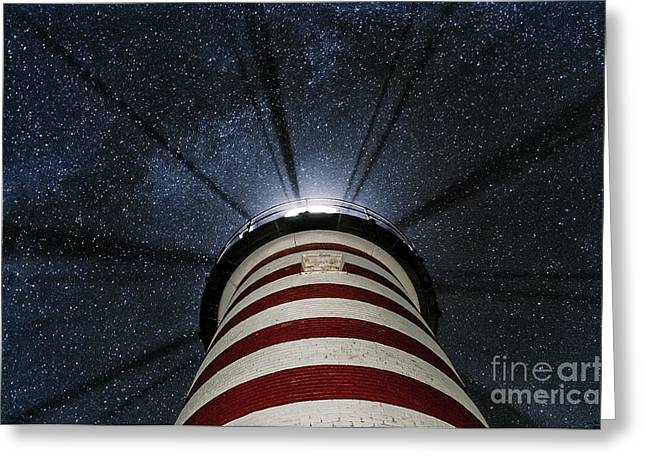 West Quoddy Head Lighthouse Greeting Cards - West Quoddy Head Lighthouse Night Light Greeting Card by Marty Saccone