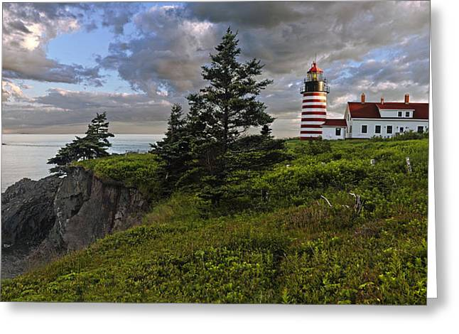 Ocean Panorama Greeting Cards - West Quoddy Head Lighthouse Panorama Greeting Card by Marty Saccone