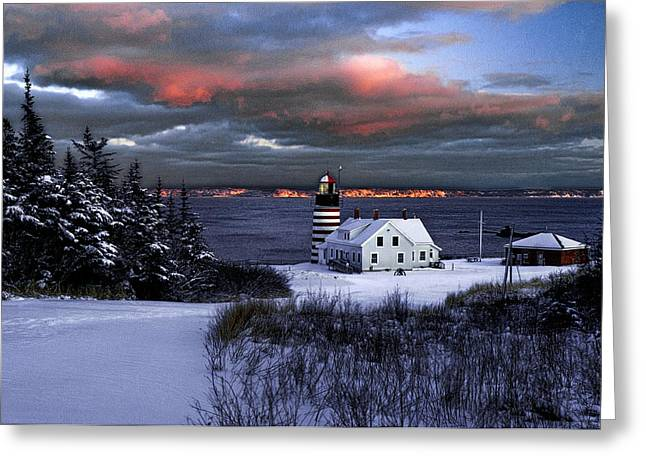 Recently Sold -  - Maine Lighthouses Greeting Cards - West Quoddy Head Lighthouse Winters Dusk Afterglow Greeting Card by Marty Saccone
