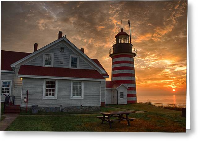 Recently Sold -  - Maine Lighthouses Greeting Cards - West Quoddy Light at Sunrise Greeting Card by John Donovan