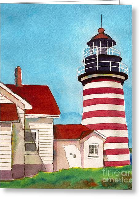 West Quoddy Light Greeting Cards - West Quoddy Light House Greeting Card by Nan Wright