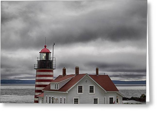 Quoddy Canvas Greeting Cards - West Quoddy Lighthouse Greeting Card by Jerry Fornarotto