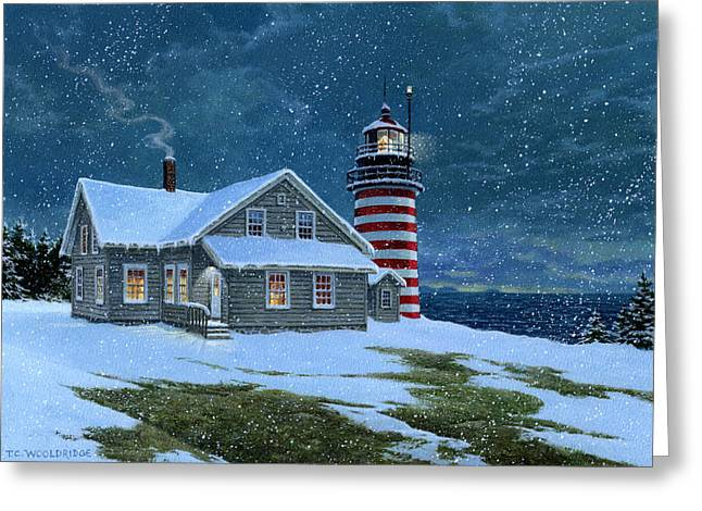 Maine Lighthouses Greeting Cards - West Quoddy Lighthouse Greeting Card by Tom Wooldridge