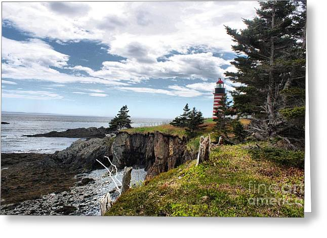 Cape Neddick Lighthouse Greeting Cards - West Quoddy Lighthouse_4038 Greeting Card by Joseph Marquis