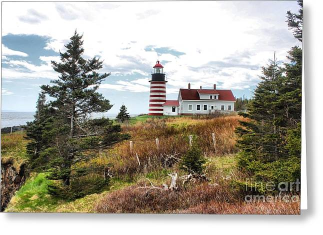 Cape Neddick Greeting Cards - West Quoddy Lighthouse_4041 Greeting Card by Joseph Marquis
