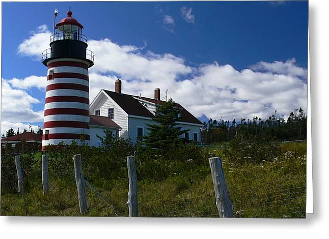 Maine Lighthouses Pyrography Greeting Cards - West Quoddy  Greeting Card by Nancie DeMellia