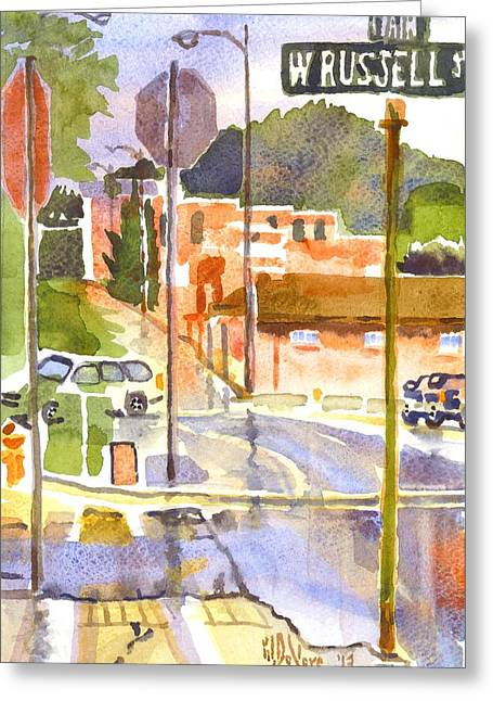 Main Street Corners Greeting Cards - West Russell and Main Greeting Card by Kip DeVore