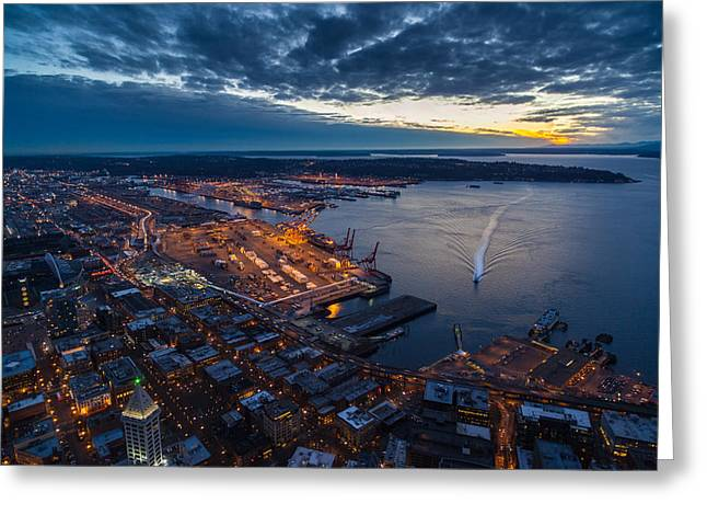 Blue Hour Greeting Cards - West Seattle Water Taxi Greeting Card by Mike Reid