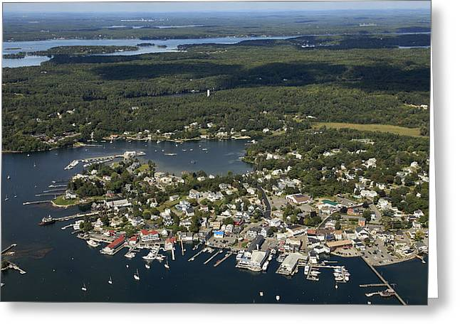 Boothbay Harbor Greeting Cards - West Side Of Boothbay Harbor, Boothbay Greeting Card by Dave Cleaveland