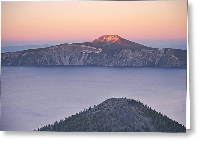 Crater Lake Sunset Greeting Cards - West Side Sunset Greeting Card by Melany Sarafis