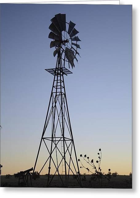 Stood Pyrography Greeting Cards - West Texas Windmill Greeting Card by Mike Hinton