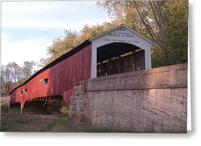 Indiana Autumn Greeting Cards - West Union Bridge Greeting Card by Robert Turner