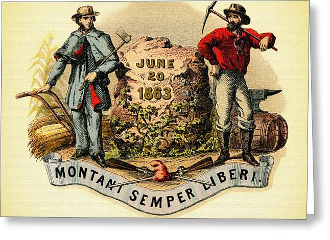 Old West Prints Greeting Cards - West Virginia Coat of Arms - 1876 Greeting Card by Mountain Dreams