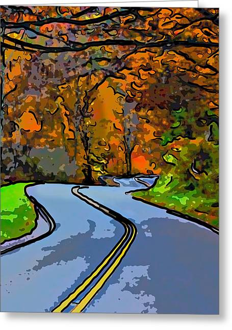 Us Open Greeting Cards - West Virginia Curves 2 line art Greeting Card by Steve Harrington
