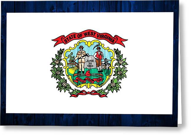 Hiking Mixed Media Greeting Cards - West Virginia Flag Barn Door Greeting Card by Dan Sproul