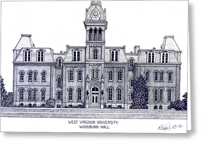 College Campus Buildings Drawings Greeting Cards - West Virginia Greeting Card by Frederic Kohli