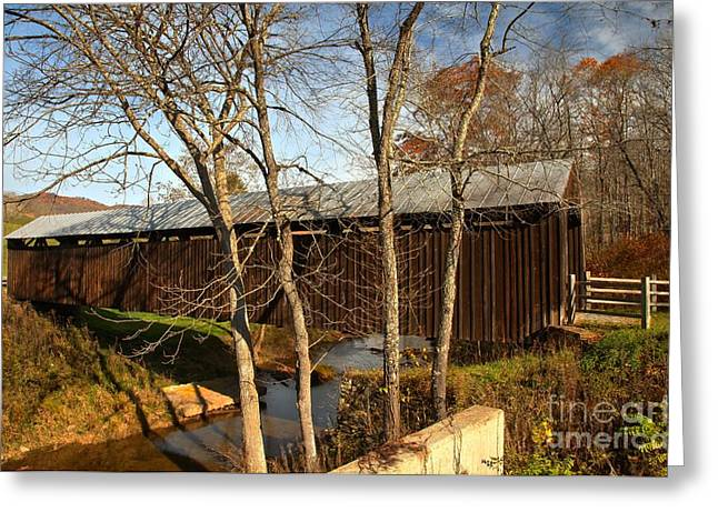 Locust Greeting Cards - West Virginia Locust Creek Covered Bridge Greeting Card by Adam Jewell