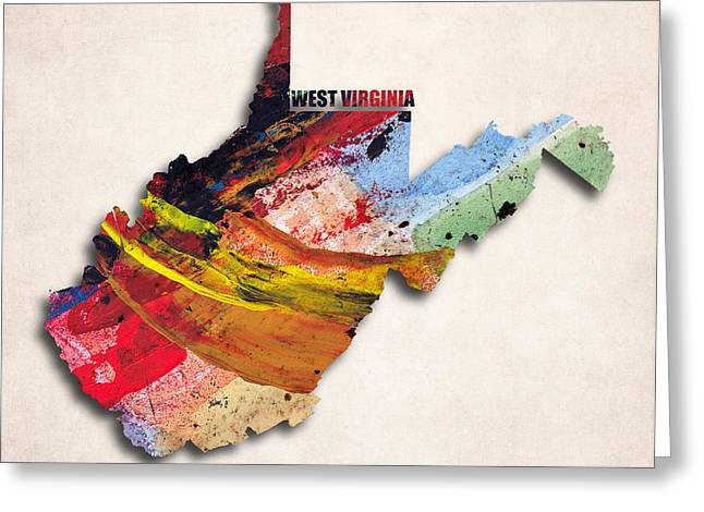 West Virginia Map Art - Painted Map Of West Virginia Greeting Card by World Art Prints And Designs
