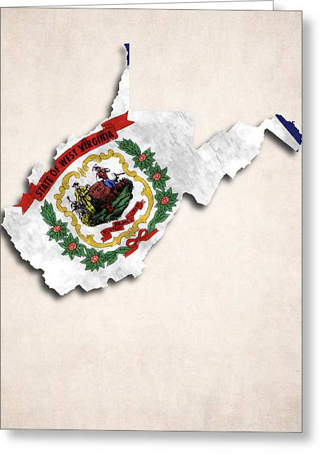America The Continent Greeting Cards - West Virginia Map Art with Flag Design Greeting Card by World Art Prints And Designs