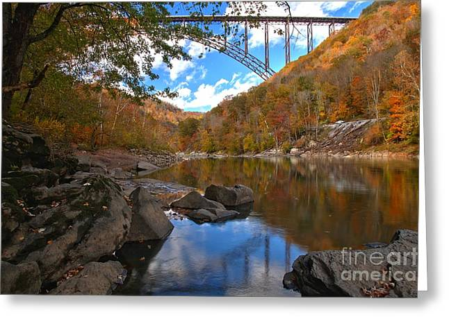 Famous Bridge Greeting Cards - West Virginia New River Greeting Card by Adam Jewell