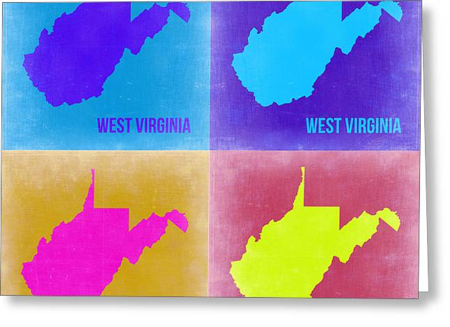 West Virginia Pop Art Map 2 Greeting Card by Naxart Studio