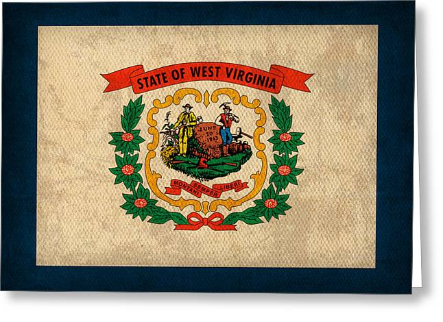 West Virginia Greeting Cards - West Virginia State Flag Art on Worn Canvas Greeting Card by Design Turnpike