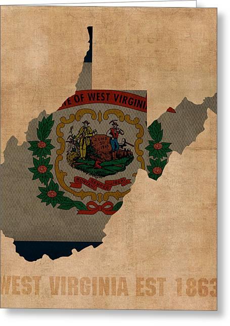 West Virginia Greeting Cards - West Virginia State Flag Map Outline With Founding Date On Worn Parchment Background Greeting Card by Design Turnpike