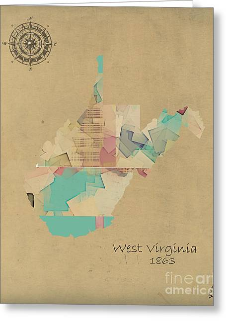 World Digital Map Greeting Cards - West Virginia State Map Greeting Card by Bri Buckley