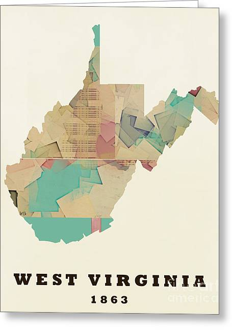 World Map Print Paintings Greeting Cards - West Virginia State Map Modern Greeting Card by Bri Buckley